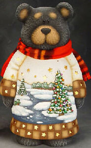 "Ceramic Bisque Ready to Paint ""Christmas Black Bear"" with Light Kit"