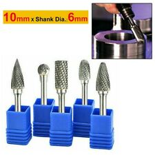 5 X Tungsten Carbide Rotary Point Burr Die Grinder Shank Drill Bits Carving 10mm