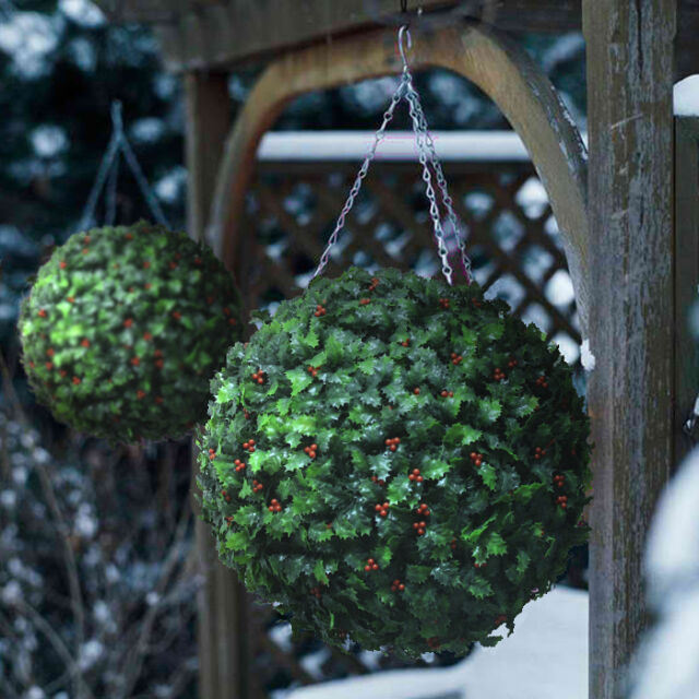 Christmas Topiary Balls.2 Best Artificial 40cm Christmas Holly Balls Topiary Grass Flower Xmas Hanging
