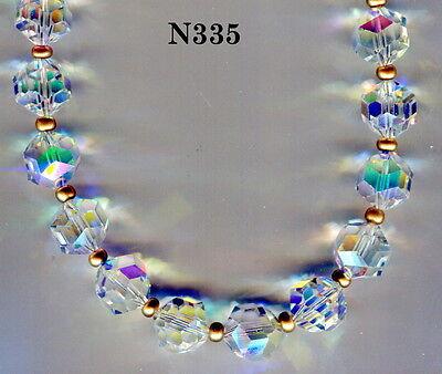 Swarovski  Aurora Borealis Crystal AB Vintage Bead Necklace & Earrings  N335