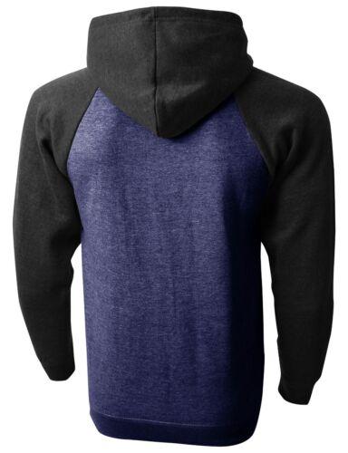Mens HOODIE RAGLAN Premium PULLOVER Sweater Tee Shirts Contrast HEAVY Long