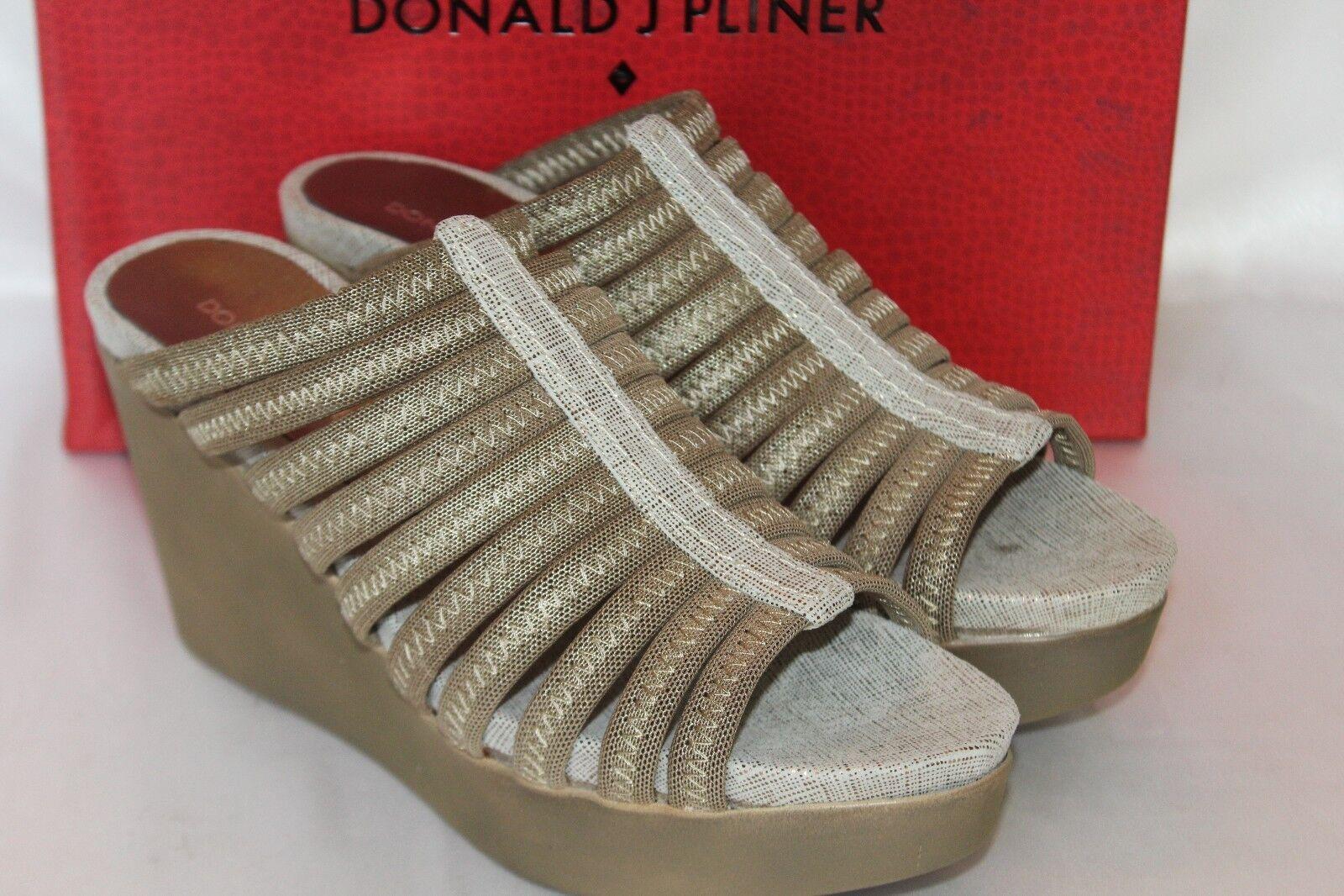 NEW NIB Donald J Pliner JACKIE Lt Bronze Metallic Mesh Elastic Wedge Sandale 168