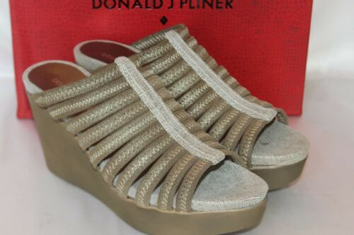 NEW NIB Donald J Pliner JACKIE Lt Bronze Metallic Mesh Elastic Wedge Sandal $168
