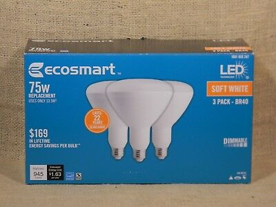 EcoSmart LED 75W Soft White Light Bulbs Box of 3   eBay