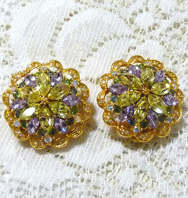 Sparkly JOAN RIVERS Yellow-Purple-Green-AB Crystal Clip-On Earrings  CC52