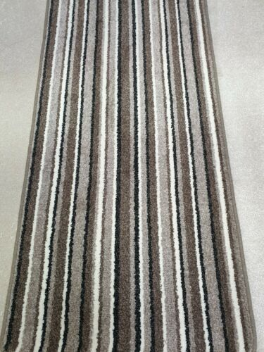 W stairs rugs New Saxony twist Brown//Beige Striped runner Cut to size 67cm