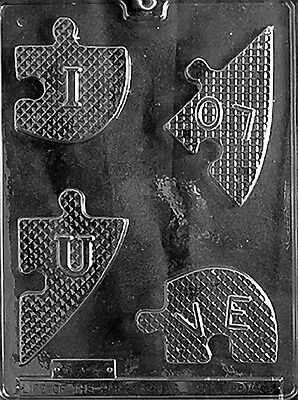 I LOVE YOU HEART PUZZLE V58  mold Chocolate Candy soap making valentine