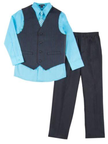 Boys 4 Piece Suit Aqua Blue /& Black Pin Stripe Dress Up Outfit Holiday Shirt