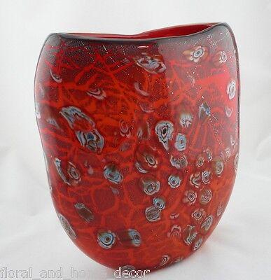 """New 13"""" Hand Blown Glass Art Vase Red Italian Millefiori Multicolor Decorative"""