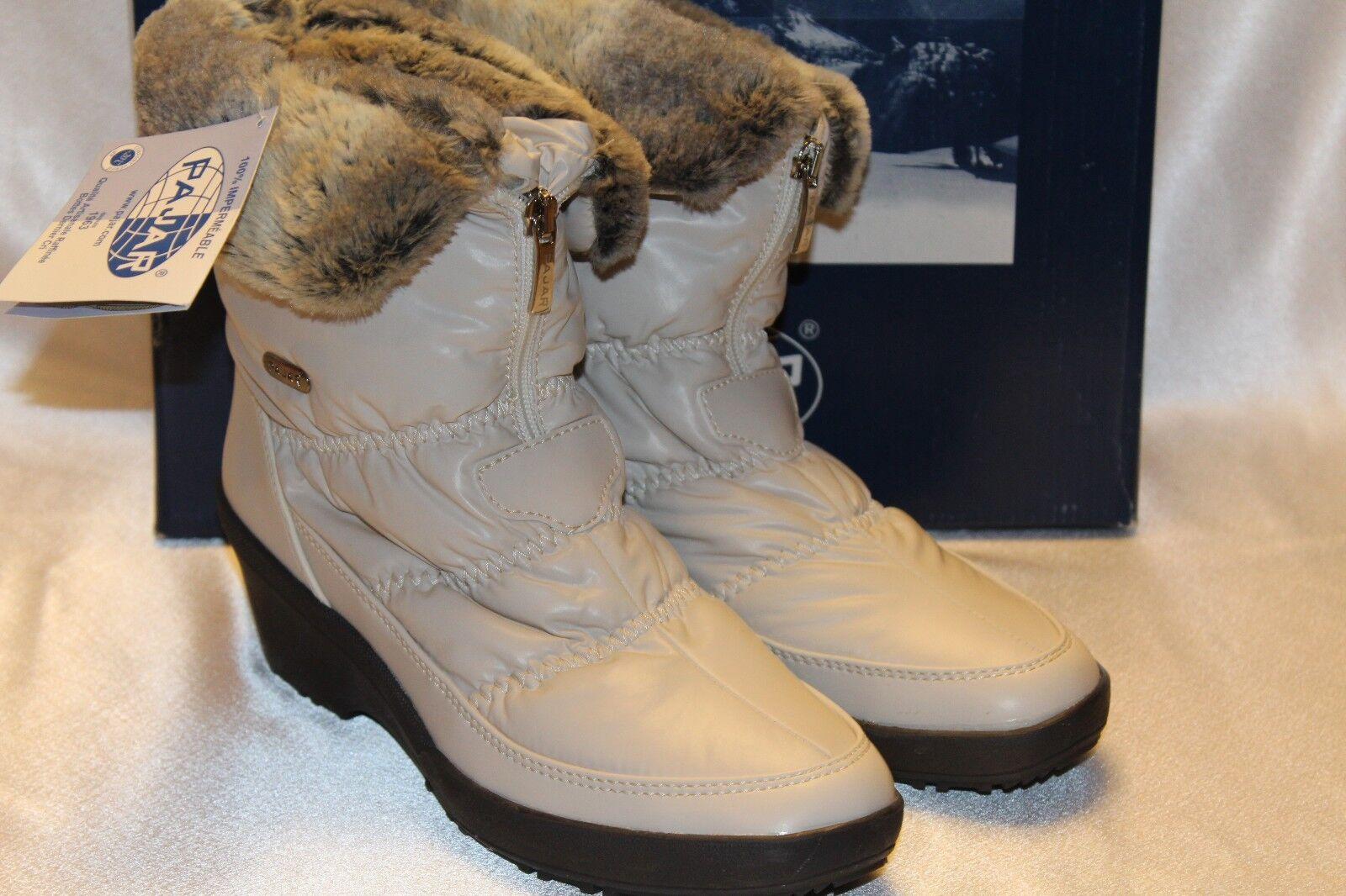 NEW  NIB  PAJAR Beige Nylon Real Fur NADIA Low Waterproof Snow Stiefel Sz 8 9 5