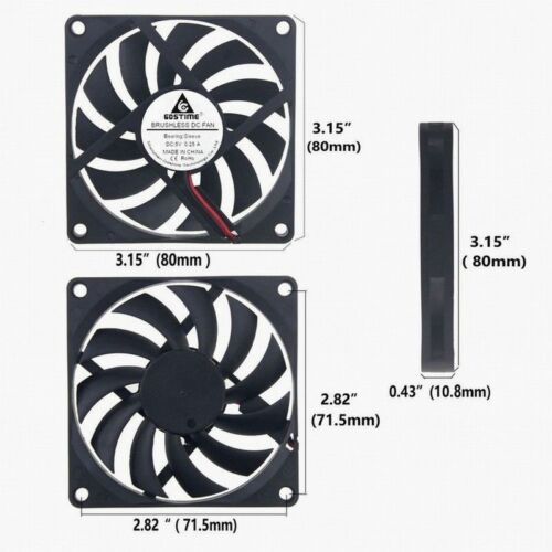 5V Motor 2P 80mm x 10mm 8010s DC Brushless Cooling Industrial Axial Case Fan