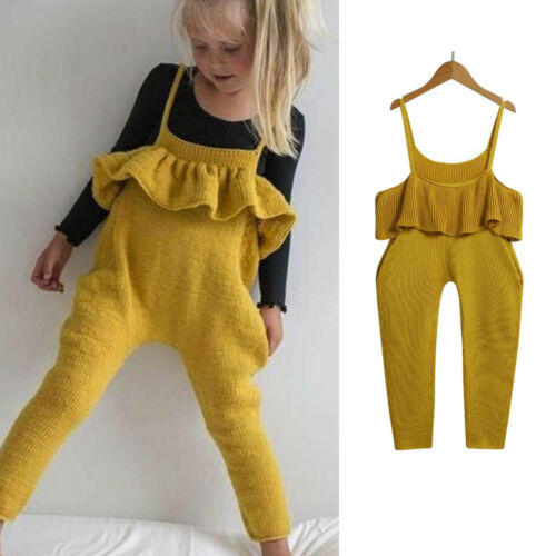 Toddler Kids Baby Girls Clothes Knitted Straps Rompers Jumpsuits Piece Pants