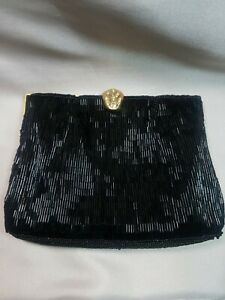 Vintage-Small-Black-Beaded-Le-Regale-Clutch-Purse-with-Thin-Gold-Strap-and-Clasp