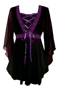Plus Size Bewitched Corset Top in Black with Purple Trim 1X 2X 3X 4X 5X