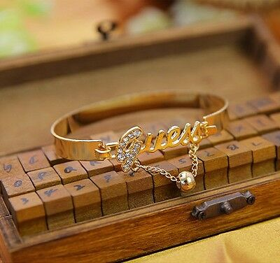 Fashion Womens Crystal Letter Charm Bangle Gold Silver Bracelets Jewelry Gift SS