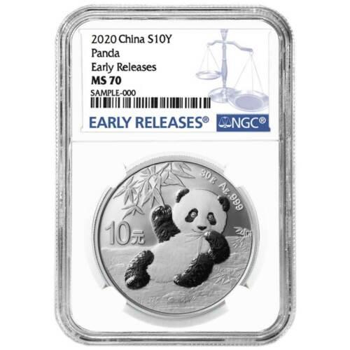 2020 10 Yuan Silver China Panda NGC MS70 Blue ER Label