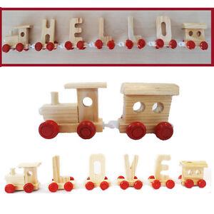Personnalisé Alphabet Nom Enfants Train en bois lettres baptêmes anniversaire cadeau  </span>