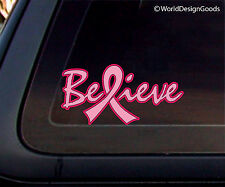 Breast Cancer Awareness BELIEVE Pink Ribbon Car Decal / Sticker