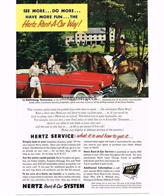1954 Hertz Rent-a-car Hotel Greystone Gatlinburg Tn Ford Vtg Print Ad To Be Distributed All Over The World Advertising-print Advertising