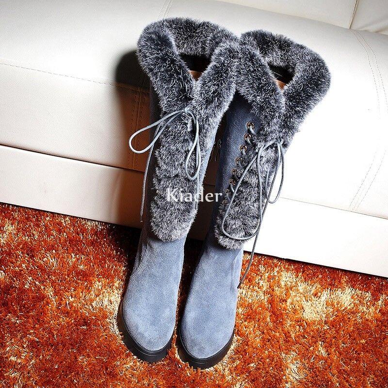 prima i clienti Winter donna Real Suede Fur Frim Lace Up Knee High High High Snow stivali Block Heels scarpe  il miglior servizio post-vendita