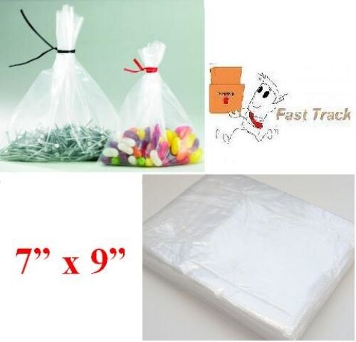"10000 x HEAVY DUTY CLEAR 7"" x 9"" PLASTIC FOOD APPROVED BAGS 200 GAUGE FAST"