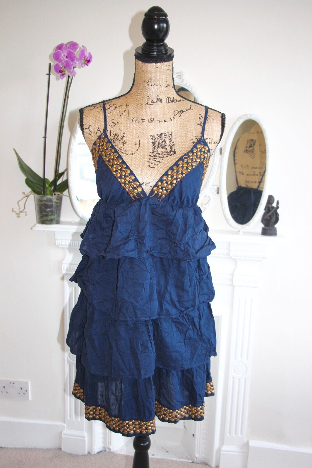 Ralph Lauren Blau Navy tiers Gold Beaded Embellished 8 10 Small Cotton Strappy
