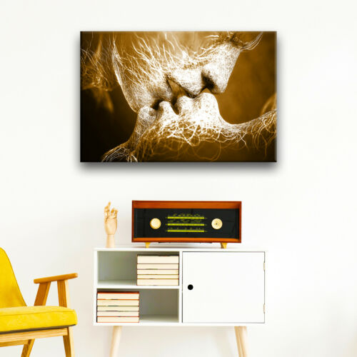 Brown White Kiss People Abstract Canvas Wall Art Large Picture Prints