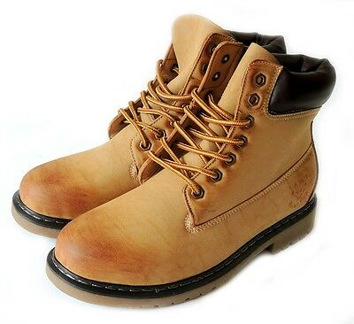 NEW  MENS  ANKLE BOOTS MILITARY COMBAT STYLE LEATHER LINED WORKING SHOES / TAN