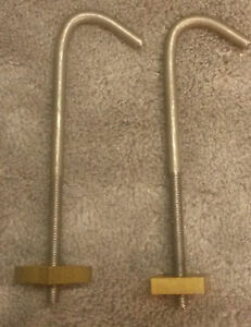 A PAIR OF LONGCASE/GRAND<wbr/>FATHER CLOCK SEAT BOARD HOOKS REPLACEMENTS/S<wbr/>PARES/REPAIR