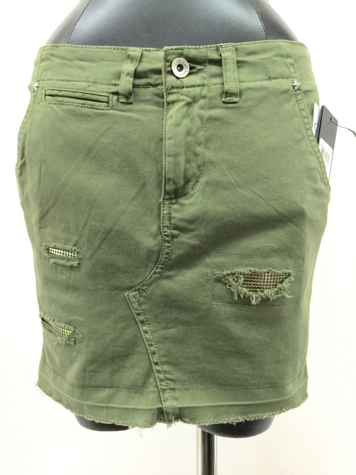 Guess Mini Skirt Above Knee Distressed Embellished Camouflage Green 26 MyAFC