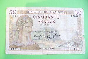Tres Rare Billet 50 Frs Ceres 17/02/1938 B+ / 1ere Cote 120 € !! Les Consommateurs D'Abord