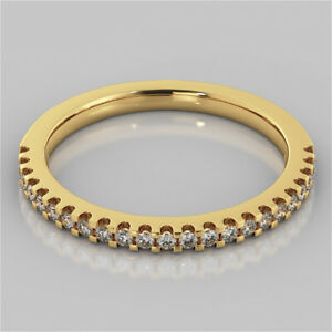 0.23 Ct Round Moissanite Engagement Eternity Band Solid 18K Yellow Gold Ring 5 6