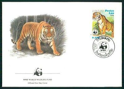 Laos Schmuck-fdc 1984 Wwf Fauna Tiere Animals Tiger Tigre El81