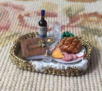 Pat Tyler Dollhouse Miniature Wicker Basket Tray W/Cheese Book Wine