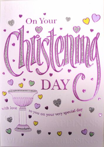 """Pink or Lilac /""""Female Christening Day/"""" Cards ~ Multiple Listings"""