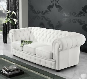 leder sofa 3 sitzer garnitur 3er chesterfield englischer landhaus stil neu ebay. Black Bedroom Furniture Sets. Home Design Ideas