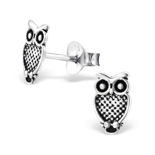 925 Sterling Silver Owl Stud Earrings