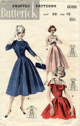 1950's VTG Butterick Misses' Princess Line Dress Pattern 8089 Size 12