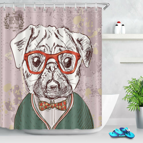 Hipster Pug with Glasses Waterproof Fabric Shower Curtain Liner Bathroom Hooks