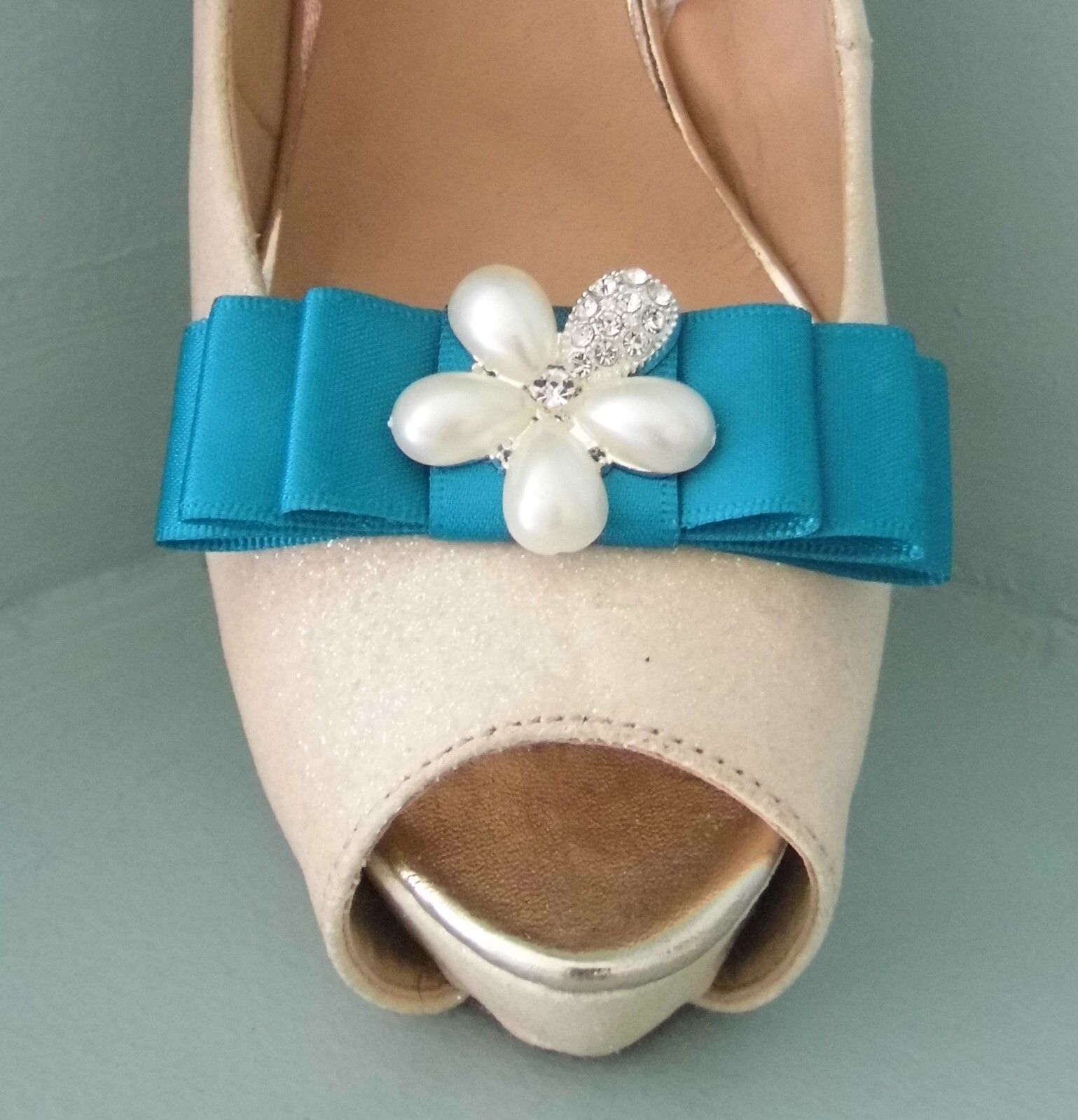 2 Teal Satin Bow Clips for Shoes with Pearl & Diamante Flower Centre