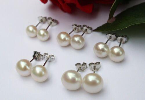von 6mm bis 10mm zucht Süßwasser Perlen Schmuck Ohrringe Ohrstecker 925 Silber
