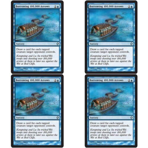 4 x BORROWING 100,000 ARROWS NM mtg Commander 2013 Blue Sorcery Unc