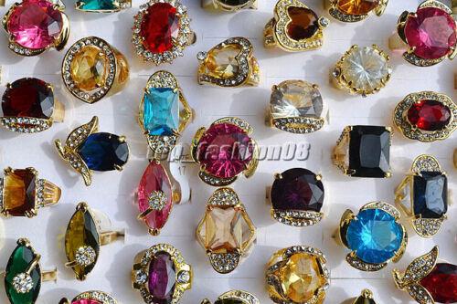 Wholesale 12ps démesurés cristal strass comme Prince mariage plaqué or anneaux