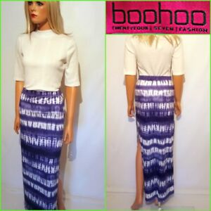 9a47bf6f044f6 NEW BOOHOO UK12 BLUE MIX STRETCH LONG MAXI SIDE SPILT BODYCON SKIRT ...