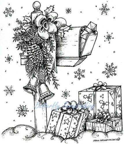 CHRISTMAS MAILBOX PINECONE GIFTS Wood Mounted Rubber Stamp NORTHWOODS P10325 New