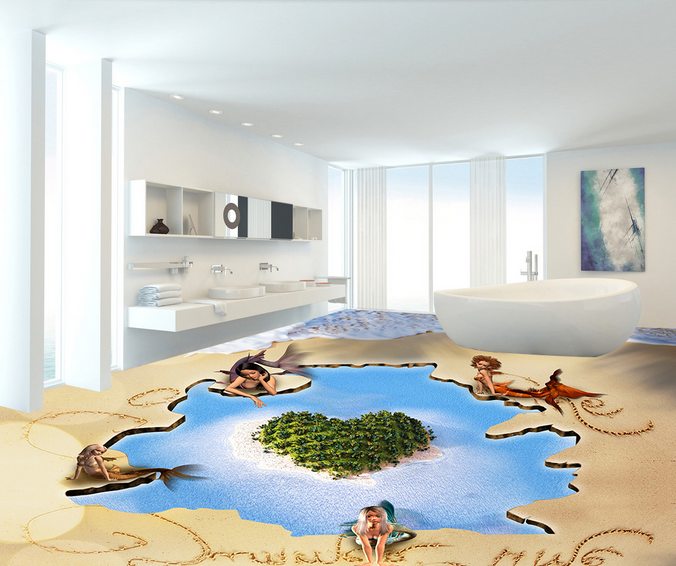 3D Sea Beach 743 Floor WallPaper Murals Wall Print Decal AJ WALL CA Lemon