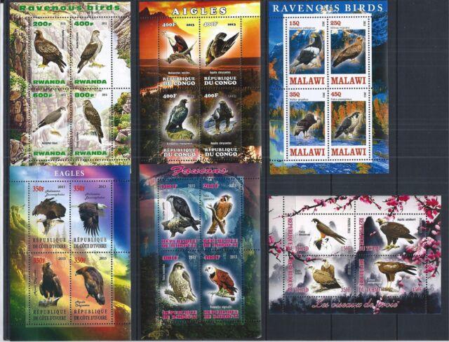 MALAWI TCHAD CONGO DJIBOUTI RWANDA COTE 2013 RAVENOUS BIRDS 6X MINI SHEET SET **