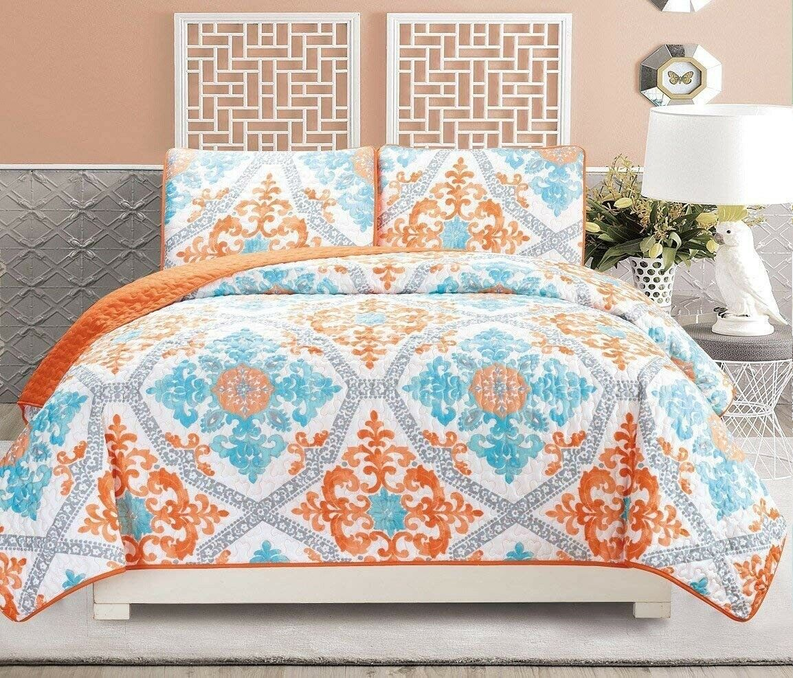 Turquoise blu bianca Floral Quilt Reversible FULL   QUEEN Dimensione Bedspread