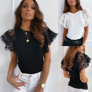 Women-Summer-Jumper-Blouse-Pullover-Shirt-Loose-Lace-Party-Ladies-Basic-Tee-Tops