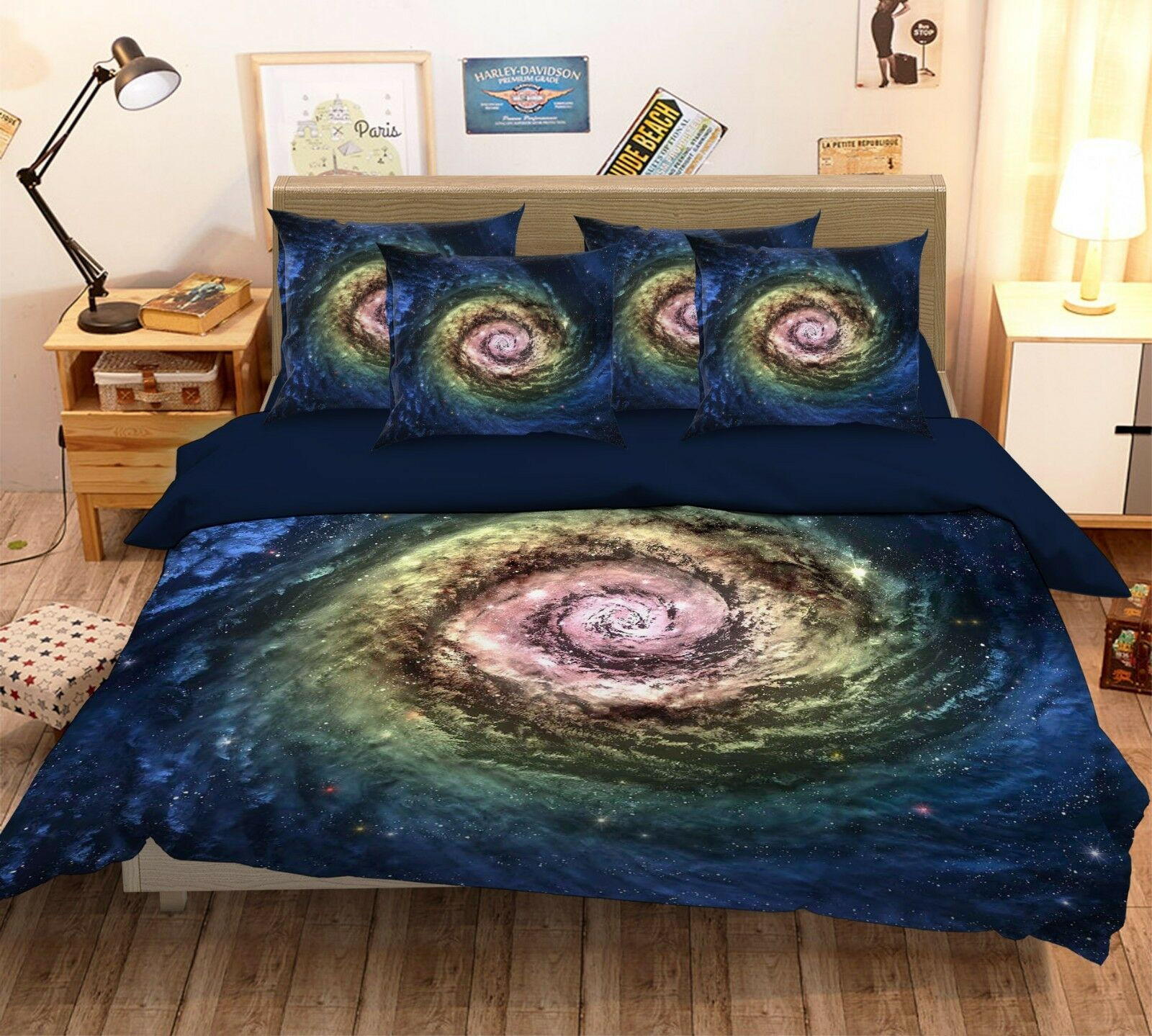 3D Galaxy Cosmos 42 Bed Pillowcases Quilt Duvet Cover Set Single Queen King AU